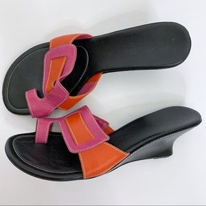 Cole Haan Leather Pink Colorblock Wedge Sandals